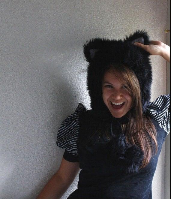 Sad kitty furry ear bonnet hat- Black and Gray