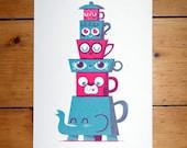 Tea Time Totem - A4 Screenprint