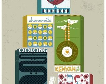 Tea Stack Too - A4 Lithographic Print