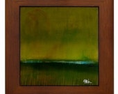 The Pond Modern Abstract Framed Ceramic Tile  Modern Minimalist Landscape Art by Kristen Stein
