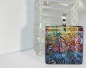 2 Bird Enchanted Garden Whimsical Folk Art Glass Tile Pendant from Original Painting by Kristen Stein