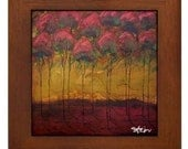 All in a Row Modern Abstract Landscape TREE Framed Art Tile by Kristen Stein