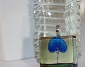 Green Glow Single Blue Tree Art Glass Tile Pendant from Original Painting by Kristen Stein