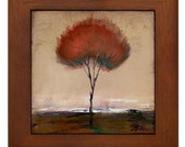 Singular Beauty Neutral Tree Framed Ceramic Tile  Modern Minimalist Landscape Art by Kristen Stein