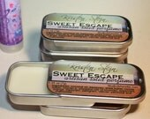 Sweet Escape  - Artisan Solid Perfume - Lavender Spearmint Orange Balm for body and hair -  with Artwork by Kristen Stein