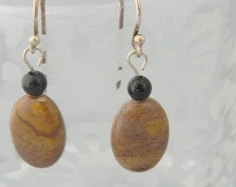 Peanut Jasper and Onyx Earrings