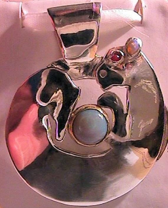 SCYTHIAN BARBARIAN NOMADIC fine silver cat pendant w opal ruby