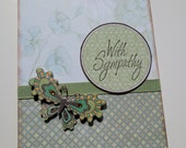 Sympathy  Card  with  Butterfly  in Soft Sage Green