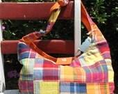 Madras Plaid Hobo Bag
