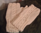 Ivory Wrist Warmers or Fingerless Gloves with Cable Pattern