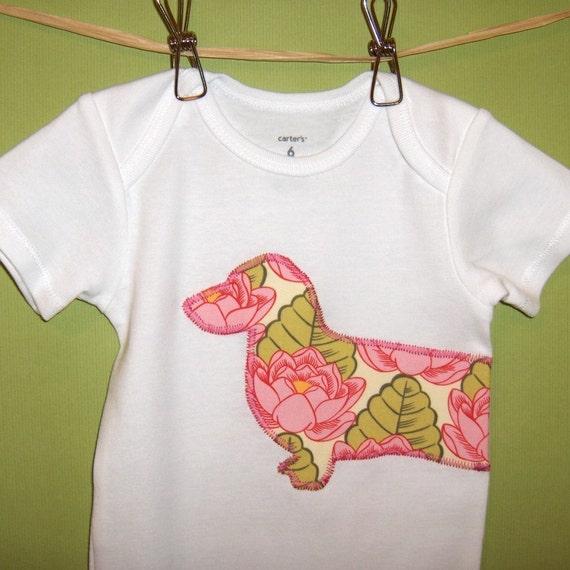 Wiener dog onesie or toddler t-shirt in pink lotus flower print