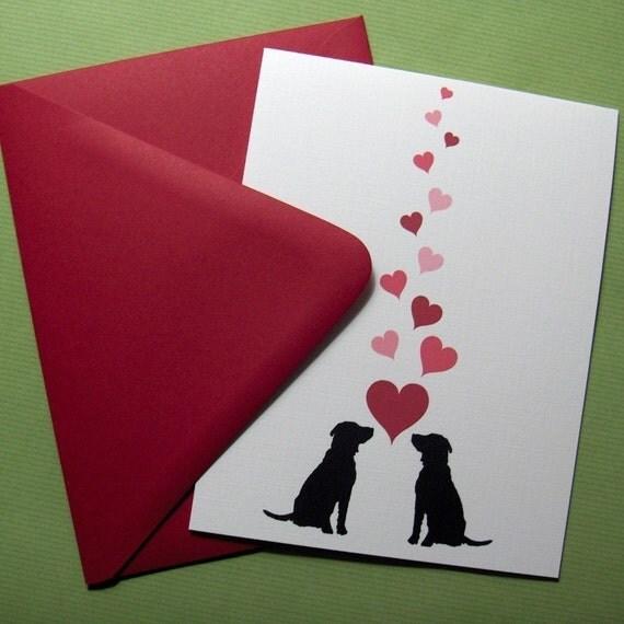 Black labs in love Valentines Day card