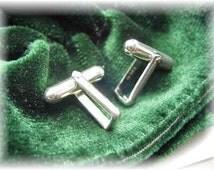 Sterling silver cufflink backs blanks  cuff link pair