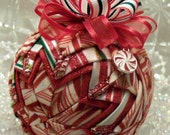 Peppermint Twist Quilted Christmas Quilt Ball Ornament