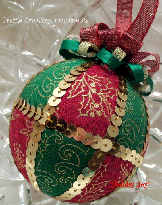 Handmade Quilted Style Christmas Ornament - Holiday Joy