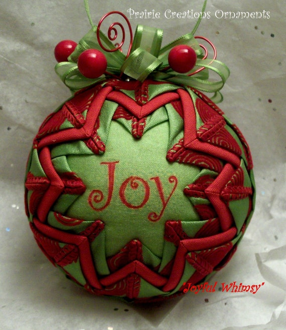 Lime green and red swirls quilted christmas ornament joyful
