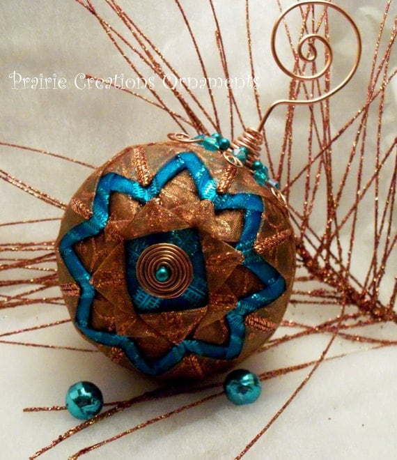 Folded Ribbon Quilted Christmas Ball Ornament Sparkling Copper and Turquoise Artisan Design