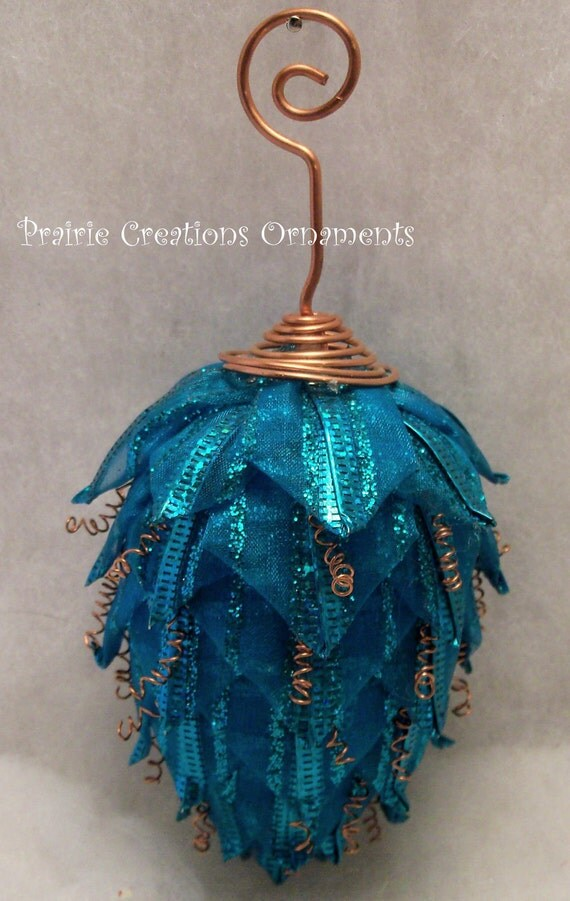 Quilted Ornament Pinecone Sparkling Turquoise and Copper Wire Christmas Decor