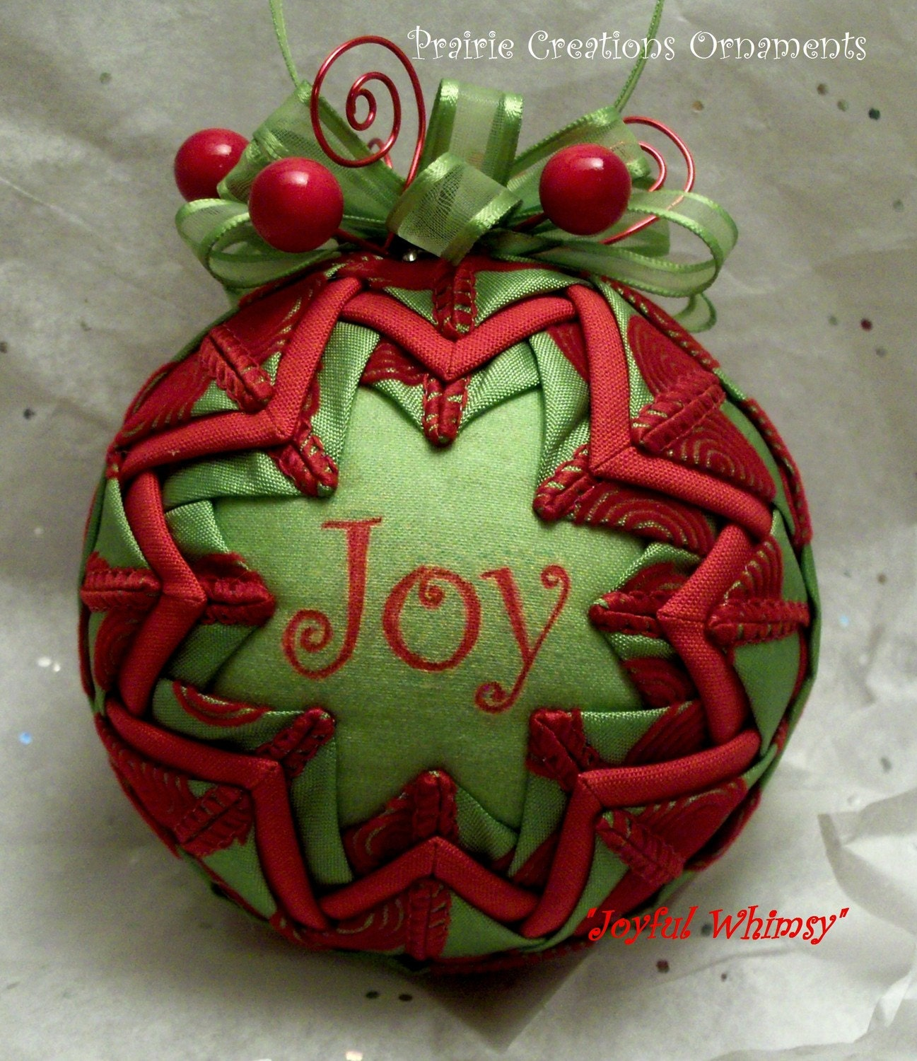 Military Ball Decorations: Lime Green And Red Swirls Quilted Christmas Ornament Joyful