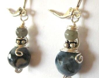 Labordoite Gemstone/Sterling Silver Earrings