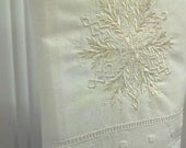 Embroidered Linen Guest Towel with Snowflake  - READY TO SHIP