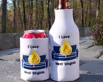 I LOVE WV Burning Couch -Your choice of either Long Neck Bottle OR Can insulator - West Virginia fan
