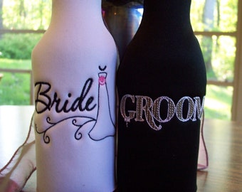 Bride and Groom embroidered Long Neck Bottle Insulators