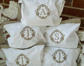 Set of 6 Custom Monogrammed Linen Cosmetic or Lingerie Bags - Great gift for your bridesmaids