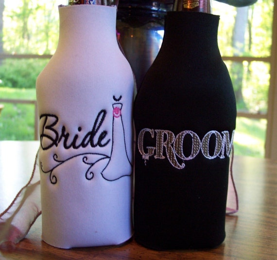 Bride and Groom embroidered Long Neck Bottle Koozies