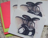 8 Postcard Set With Matching Bold Envelopes, Guinea Pig And Bunny Illustration, Animal Art, Stationery
