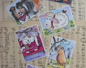 Aceo Trading Card Bundle Of 6 Illustrations, Watercolor Paintings, Fine Art Prints,  Children, Animals