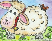 Aceo Watercolor Painting, Fine Art Print, Titled The Luck Of The Irish, Baby Lamb, Sheep Illustration, Art, Trading Card