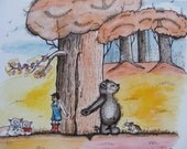 Childrens Illustration Watercolor Painting Titled, Can We Be Friends, Matted In Beige, Fine Art Print, Child, Bear, Animals, Vintage Colors