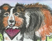 Aceo Trading Card Watercolor Fine Art Print, Childrens Illustration, Titled Paw Prints On My Heart, Dog, Sheltie