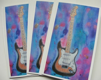 Stratocaster Guitar, Blank Card, Fender Guitar, Pop Art, Contemporary, Vintage Guitar Art, Watercolor Painting, Guitar Painting, Guitar Art