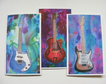 Set Of 3 Large Blank Greeting Cards, Vintage Gibson, Fender Stratocaster And Fender Mandolin, Guitars, Paper Products, Stationery