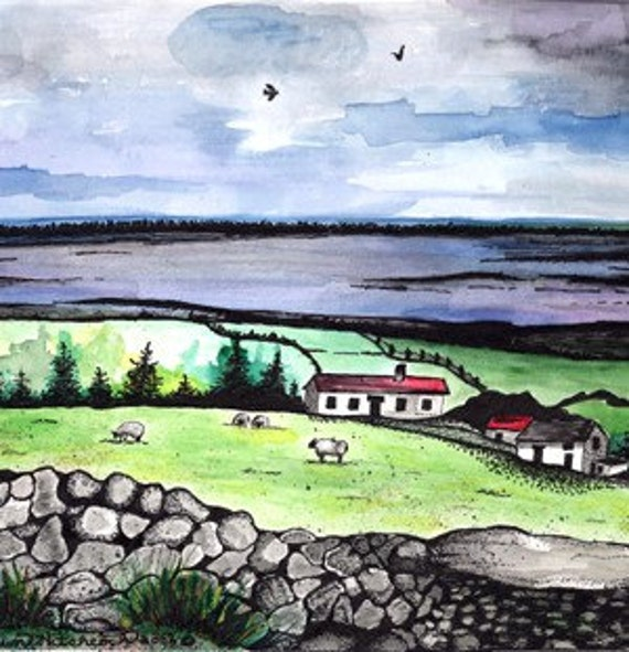 Ireland Print Series, Ring Of Kerry, Illustration, Fine Art Print, Watercolor Painting, Art, Landscape,Seascape, Irish Cottage