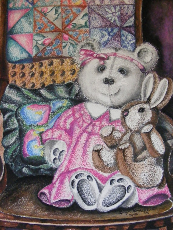 Close Out SALE- Original Mixed Media Painting Titled, Bunnies And Bears, On Watercolor Paper, Childrens Illustration, Teddy Bear
