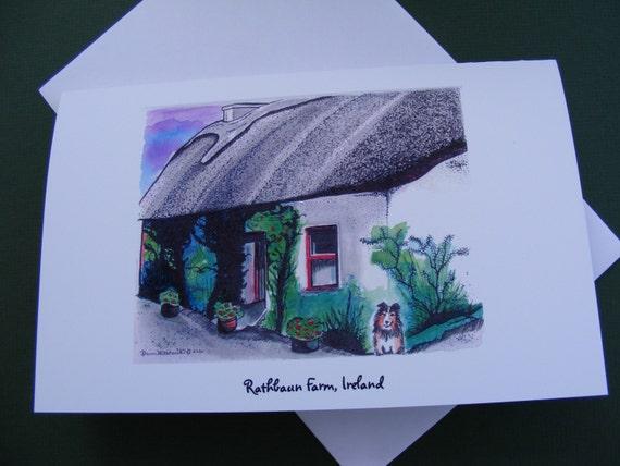 Ireland Series, Rathbaum Farm Card, Irish Cottage, Sheltie, Dog, Illustration, Watercolor painting
