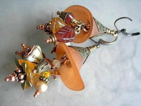 Artisan Earrings, Cornucopias, Amber, Orange, Floral Clusters, Resin Flowers