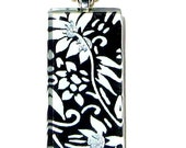 black and white necklace pendant - glass and Japanese chiyogami necklace pendant