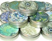 Peacock Favors  - 10 gift tins - Peacock Feather Inspired Japanese chiyogami party favor mint tins