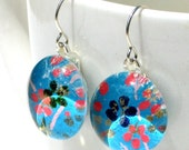 caribbean blue geisha gem danglies - glass and Japanese chiyogami earrings with eco friendly Argentium sterling silver