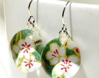 green garden geisha gem danglies - glass and Japanese chiyogami earrings with eco friendly Argentium sterling silver