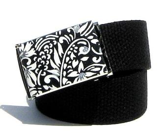 Obi Belt Buckle - black and silver floral (Buckle Only) Vegan Friendly Belts