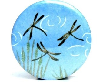Buy 3 Get The 4th Free - Dragonflies  Pocket Mirror- Japanese chiyogami mirror and gift bag