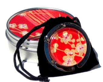 Geisha Gem Purse Hook - Sunset - A Handcut Glass and Japanese Chiyogami Purse or Bag Hanger - Foldable. Portable. Adorable.