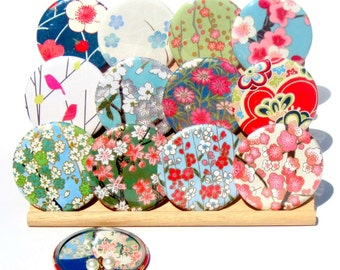 Pocket Mirrors - Preppy Collection - Set of 5 Japanese chiyogami mirrors with gift bags - LIMITED EDITION