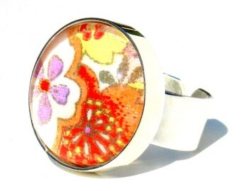 Large Silver Cocktail Ring. Metal and Glass Orange Floral Adjustable Ring: New Bohemian