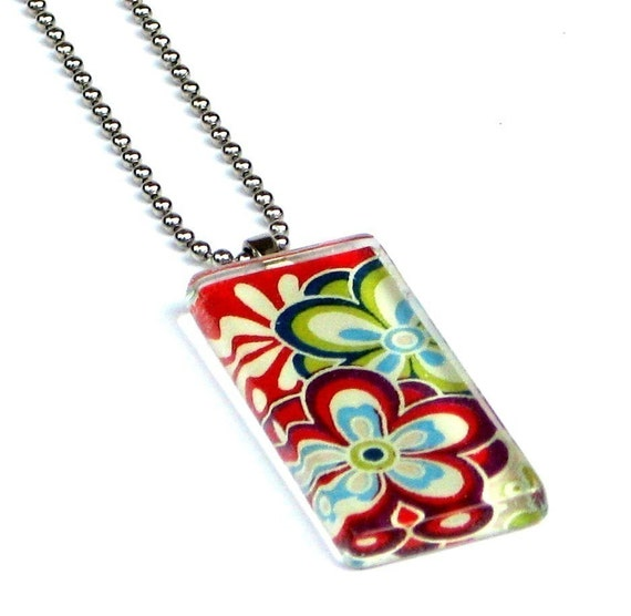 give peace a chance dogtag - glass and chiyogami pendant necklace